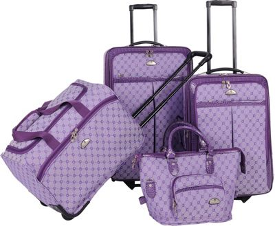 Image of American Flyer AF Signature 4-Piece Luggage Set Light Purple - American Flyer Luggage Sets