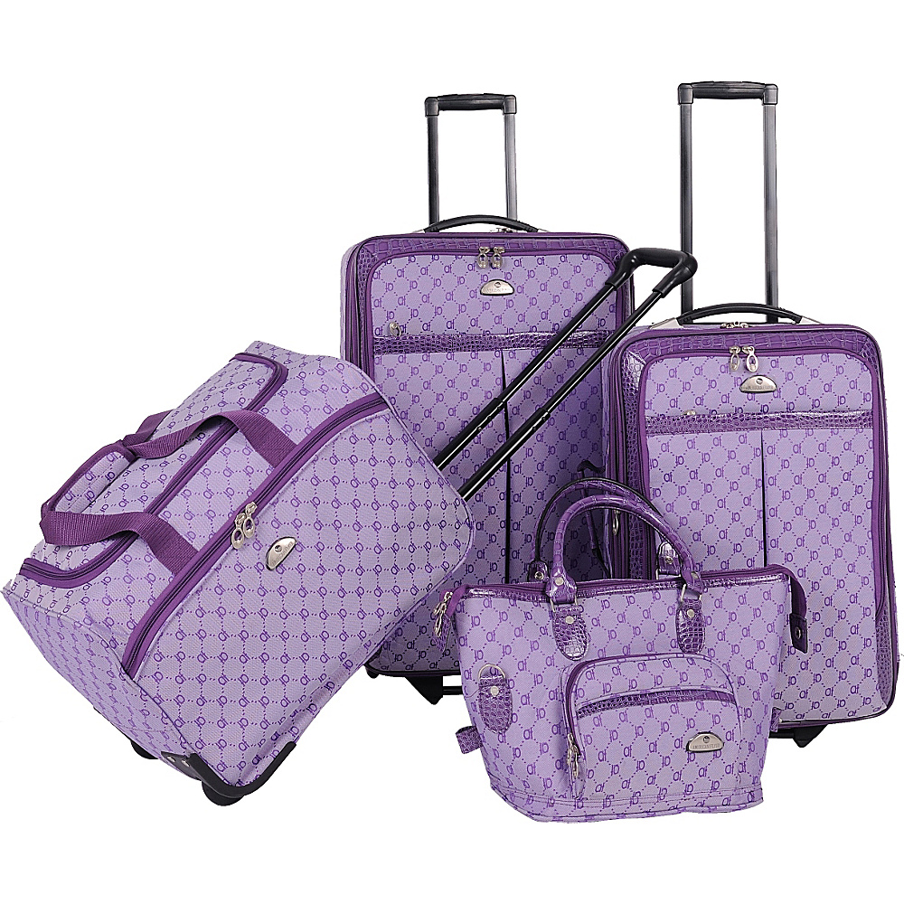 American Flyer AF Signature 4-Piece Luggage Set Light Purple - American Flyer Luggage Sets