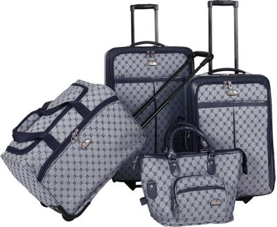 Image of American Flyer AF Signature 4-Piece Luggage Set Navy - American Flyer Luggage Sets