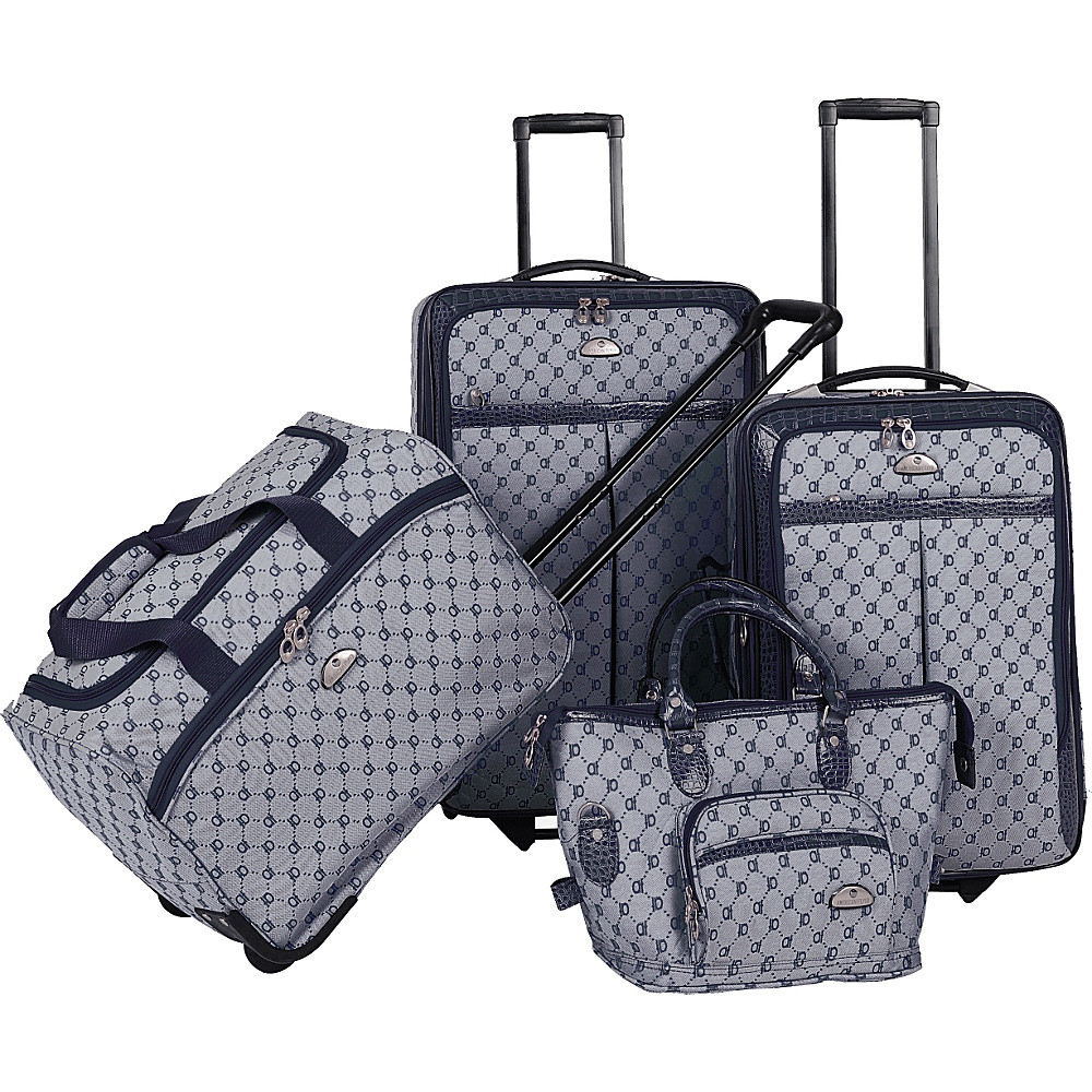 American Flyer AF Signature 4-Piece Luggage Set Navy - American Flyer Luggage Sets