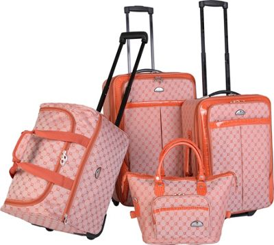 Image of American Flyer AF Signature 4-Piece Luggage Set Orange - American Flyer Luggage Sets