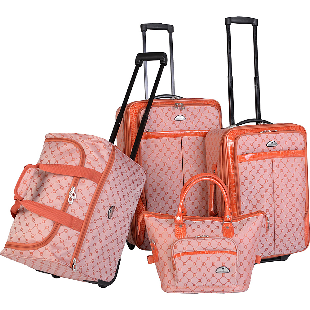 American Flyer AF Signature 4 Piece Luggage Set Orange American Flyer Luggage Sets