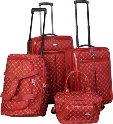 Image of American Flyer AF Signature 4-Piece Luggage Set Red - American Flyer Luggage Sets