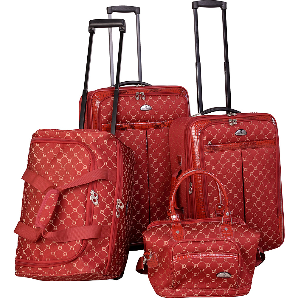 American Flyer AF Signature 4-Piece Luggage Set Red - American Flyer Luggage Sets