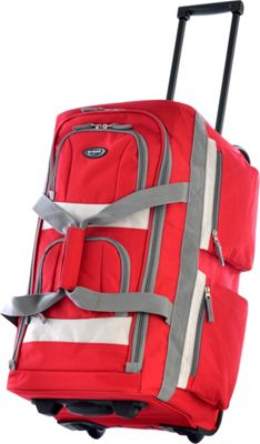 Olympia USA 22 inch 8 Pocket Rolling Duffel Bag Red - Olympia USA Rolling Duffels