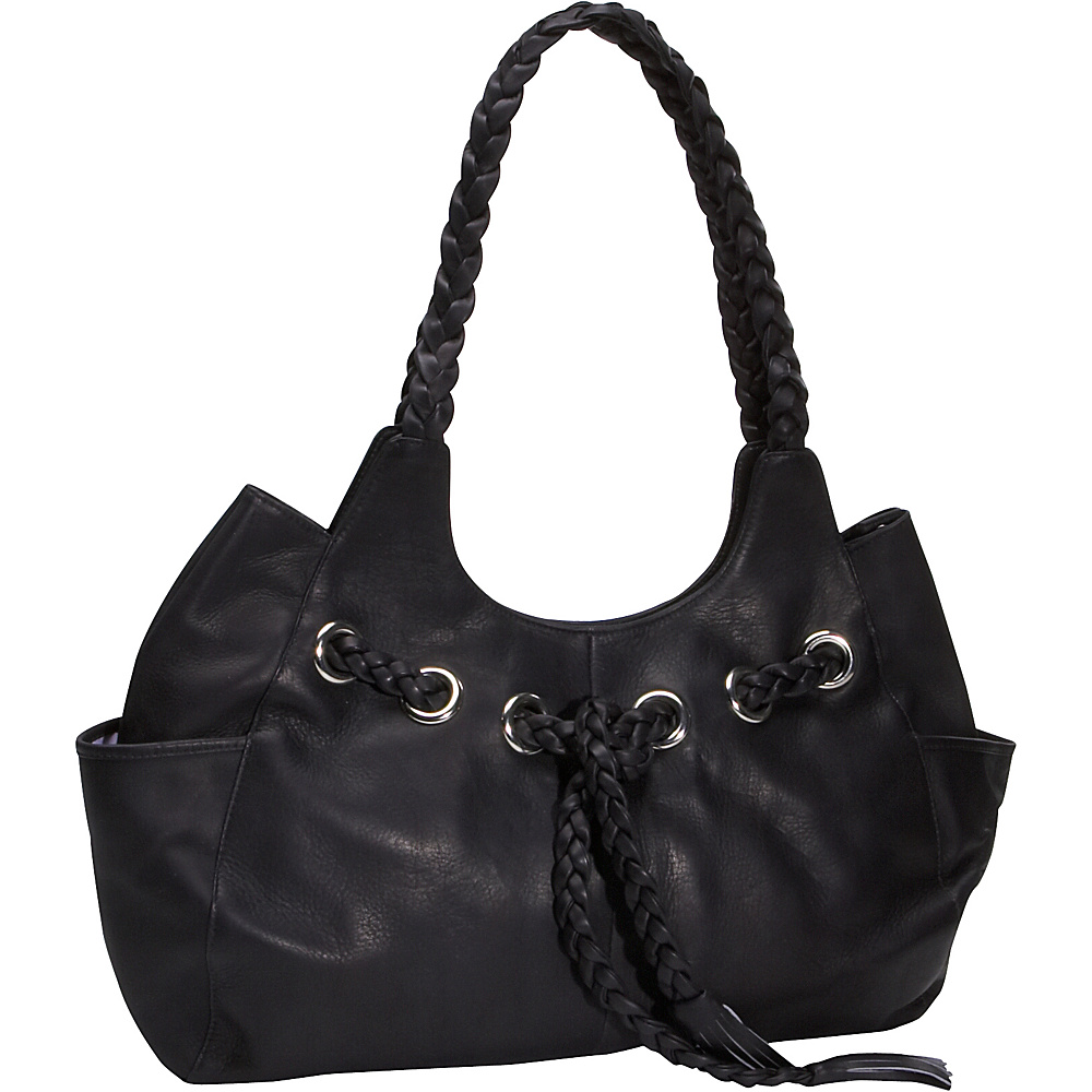 Piel Braided Hobo - Black - Handbags, Leather Handbags