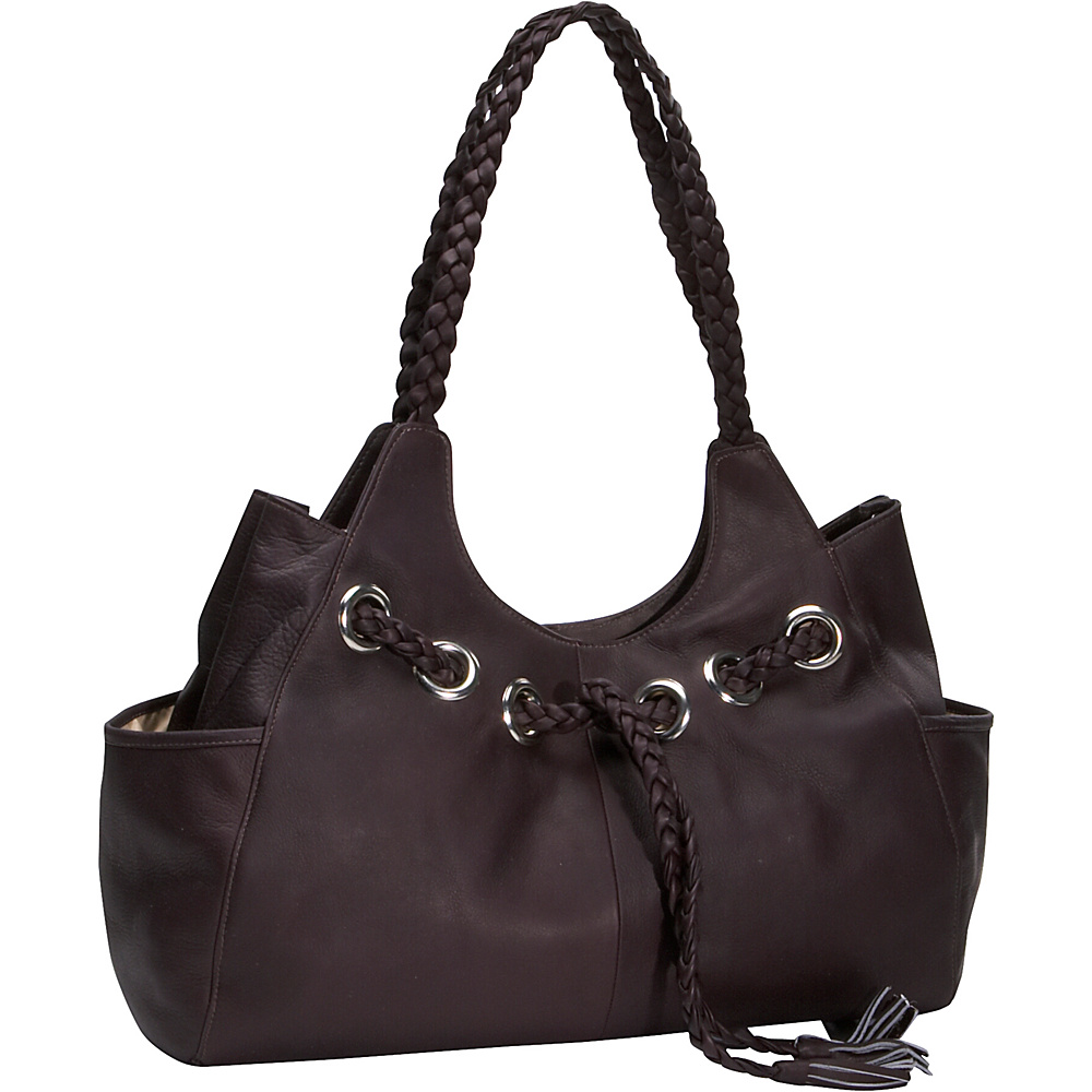 Piel Braided Hobo - Chocolate - Handbags, Leather Handbags