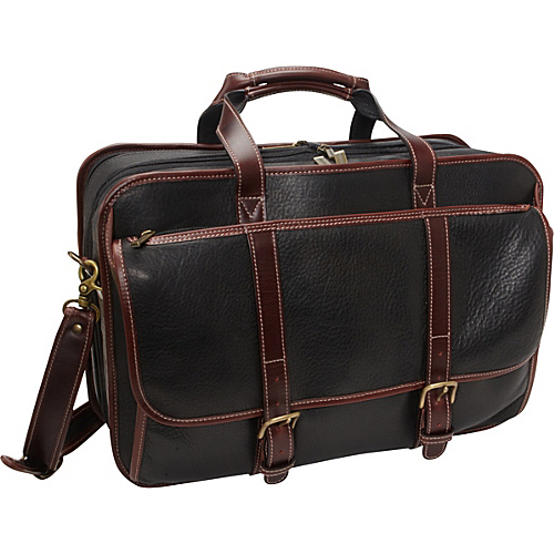 Korchmar OLIVER La Romana Checkpoint-Friendly Computer Brief Black with Root Beer Trim - Korchmar Non-Wheeled Computer Cases