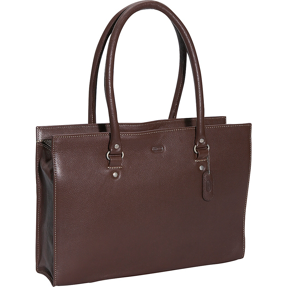 Leatherbay Allison Leather Handbag - Dark Brown