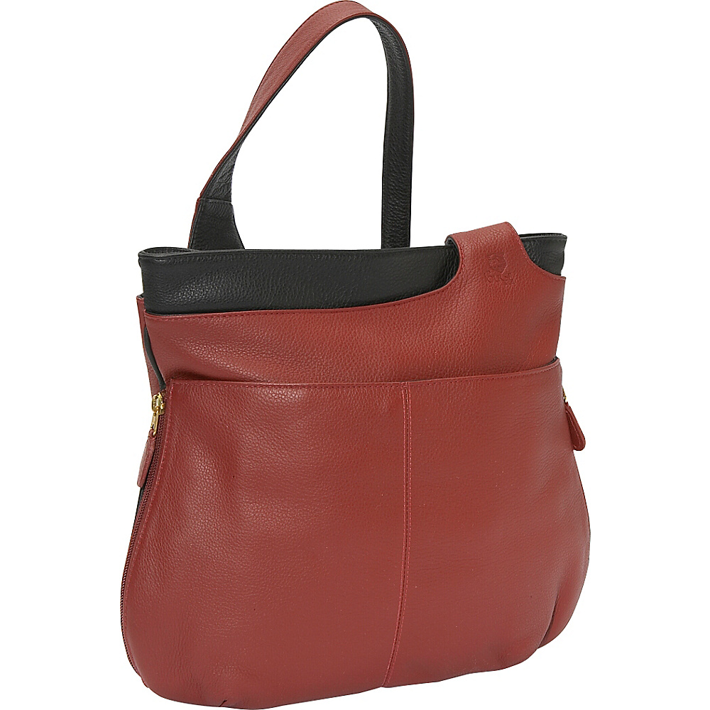 J. P. Ourse & Cie. Midtown - Berry Red/Black - Handbags, Leather Handbags
