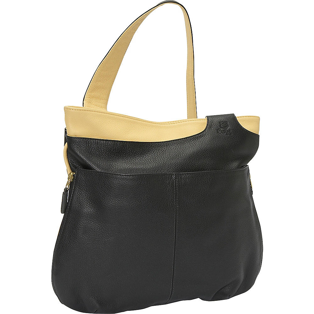 J. P. Ourse & Cie. Midtown - Black/Creme - Handbags, Leather Handbags