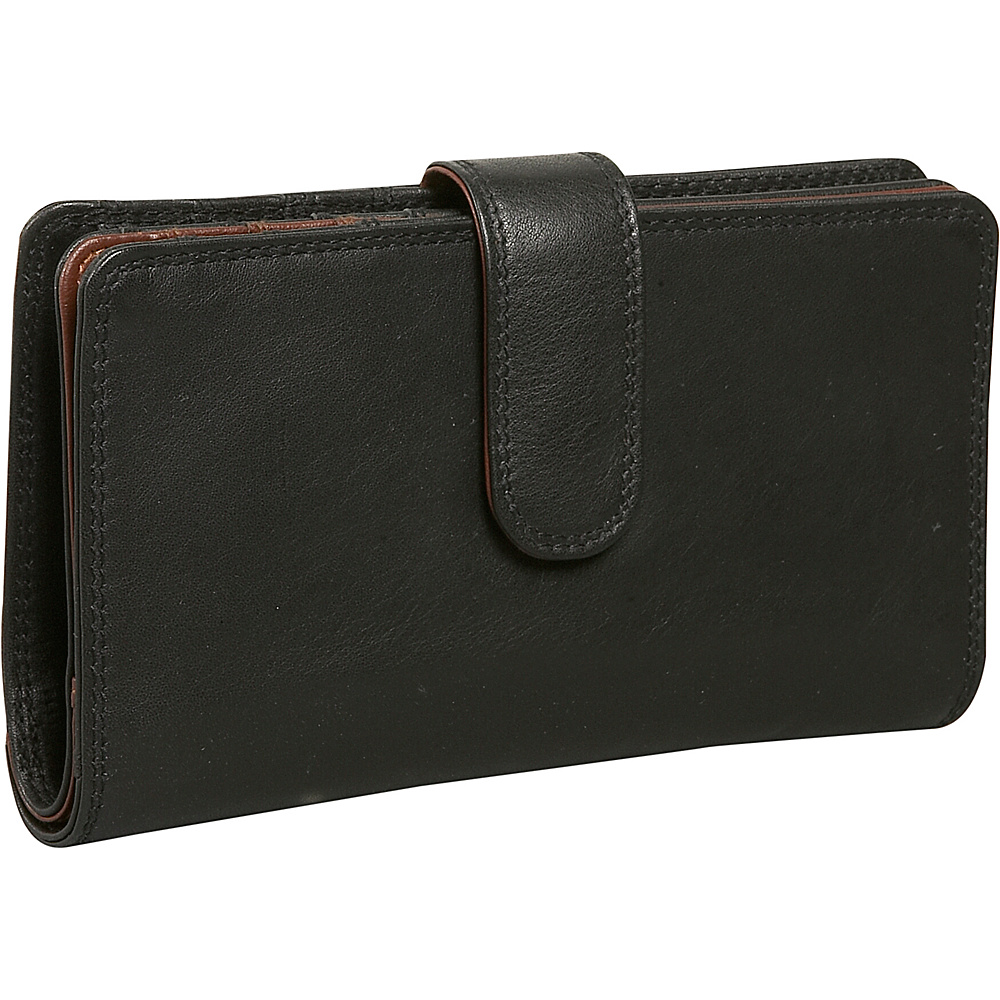Derek Alexander Ladies Slim Wallet - Black and Brandy - Women's SLG, Women's Wallets