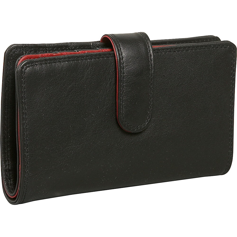 Derek Alexander Ladies Slim Wallet - Black/Red - Women's SLG, Women's Wallets