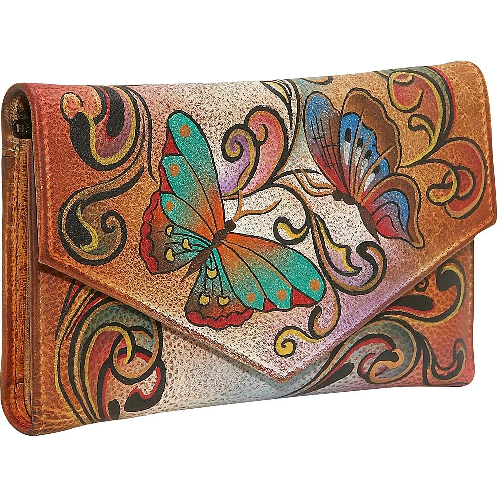 Anuschka Checkbook Wallet Henna Butterfly Anuschka Ladies Clutch Wallets