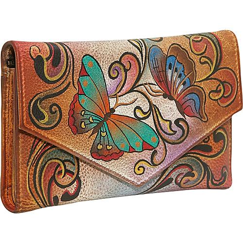 Anuschka Checkbook Wallet: Henna Butterfly
