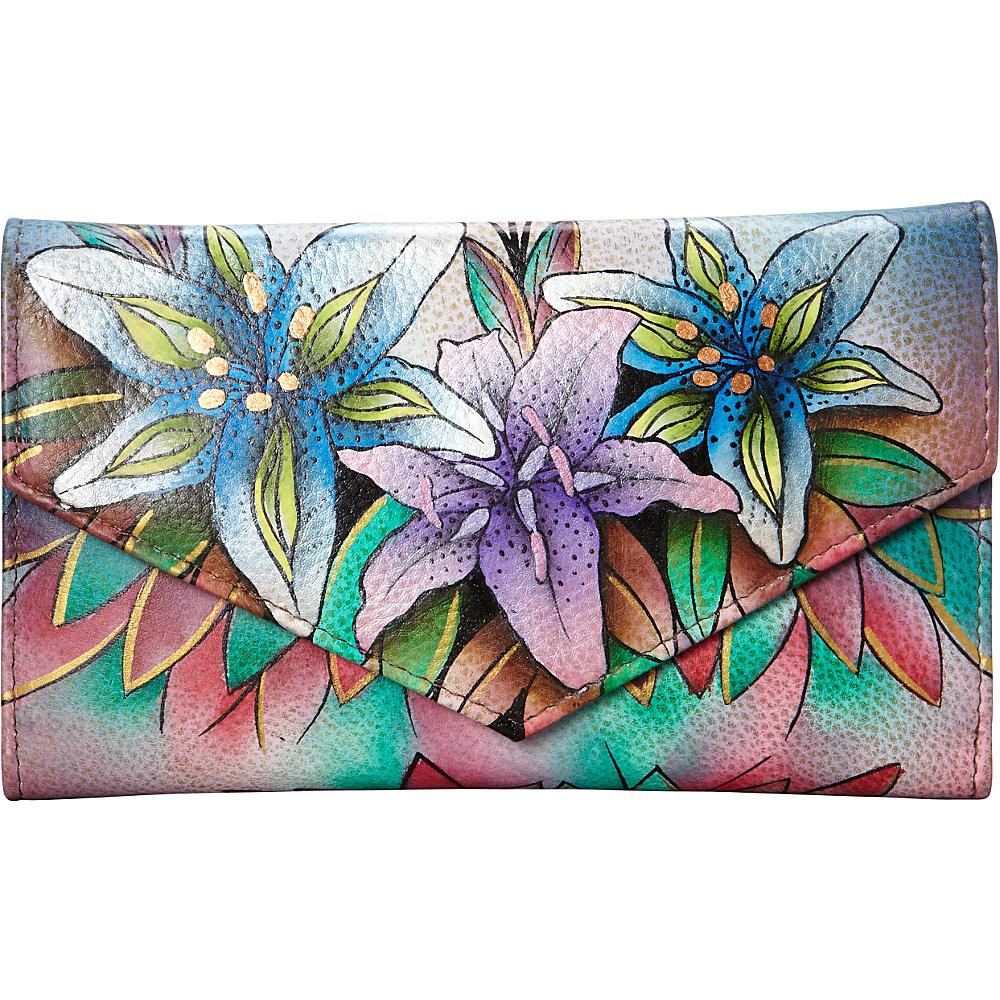 Anuschka Checkbook Wallet Luscious Lilies Denim Anuschka Women s Wallets