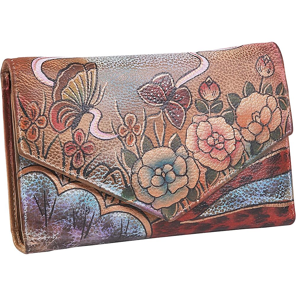 Anuschka V-Flap Checkbook Wallet - Premium Rose Antique - Women's SLG, Women's Wallets
