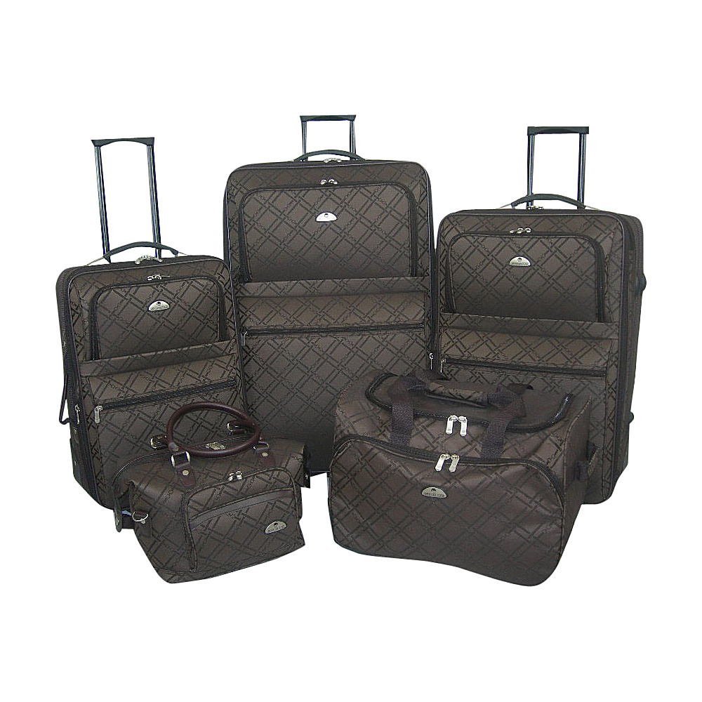 American Flyer Pemberly 5 Piece Buckles Set - Chocolate - Luggage, Luggage Sets