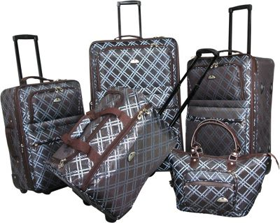American Flyer Pemberly 5 Piece Buckles Set Metallic Blue - American Flyer Luggage Sets