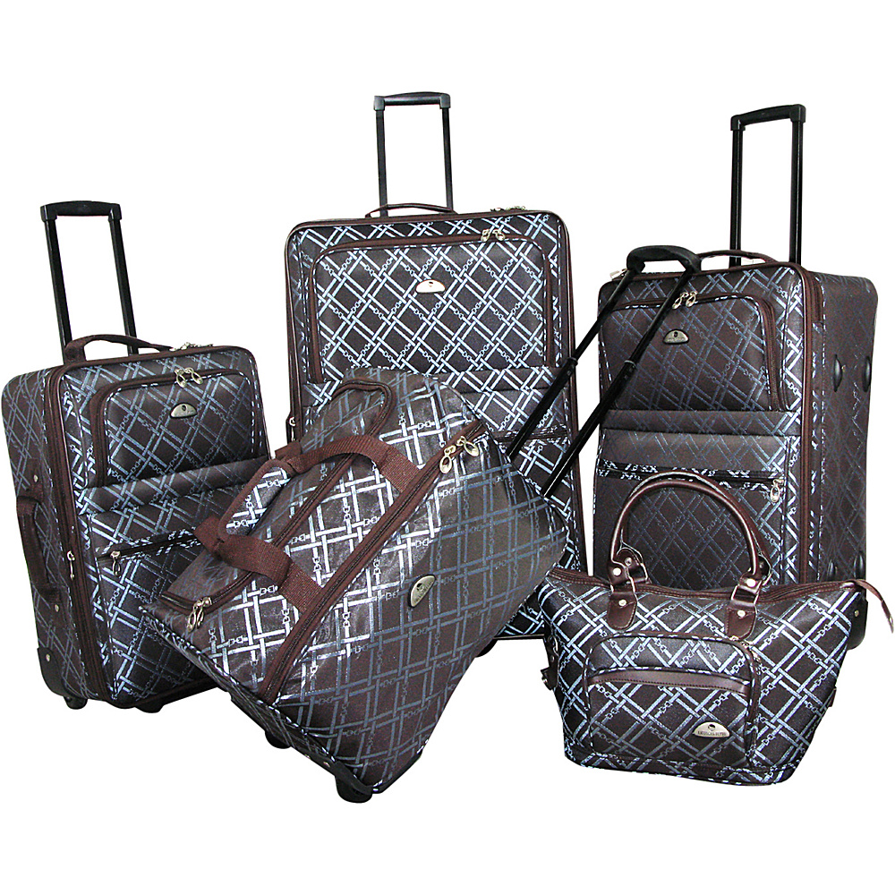 American Flyer Pemberly 5 Piece Buckles Set Metallic Blue American Flyer Luggage Sets