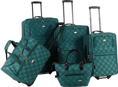 American Flyer Pemberly 5 Piece Buckles Set Green - American Flyer Luggage Sets
