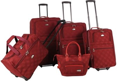 American Flyer Pemberly 5 Piece Buckles Set Wine - American Flyer Luggage Sets