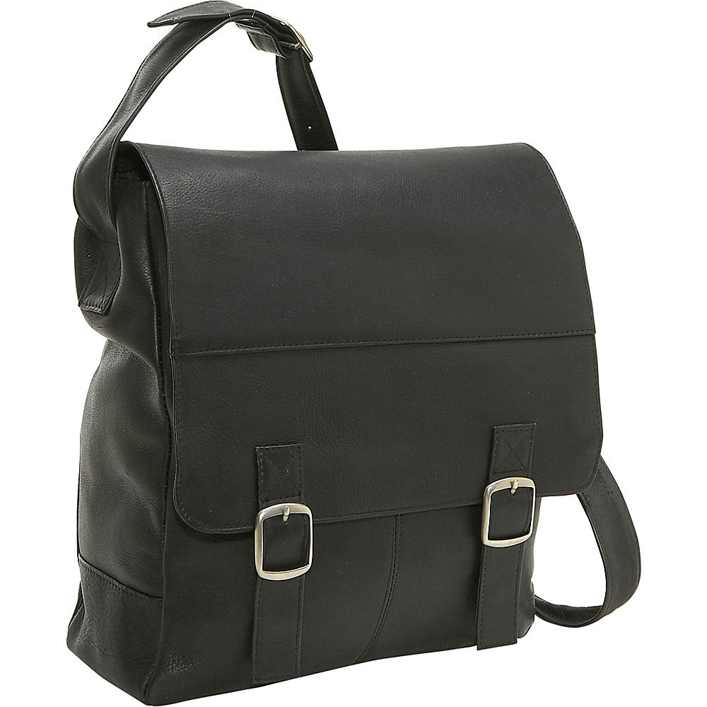 Le Donne Leather Vertical Computer Messenger - Black - Work Bags & Briefcases, Messenger Bags