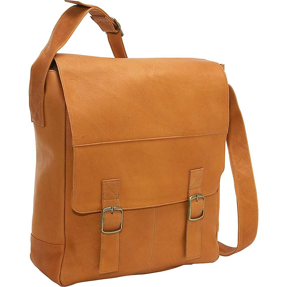 Le Donne Leather Vertical Computer Messenger - Tan - Work Bags & Briefcases, Messenger Bags