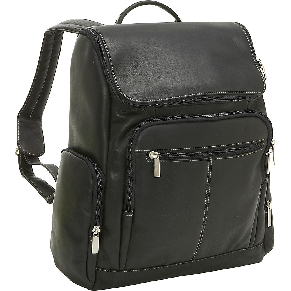 Le Donne Leather Computer Back Pack - Black - Backpacks, Business & Laptop Backpacks
