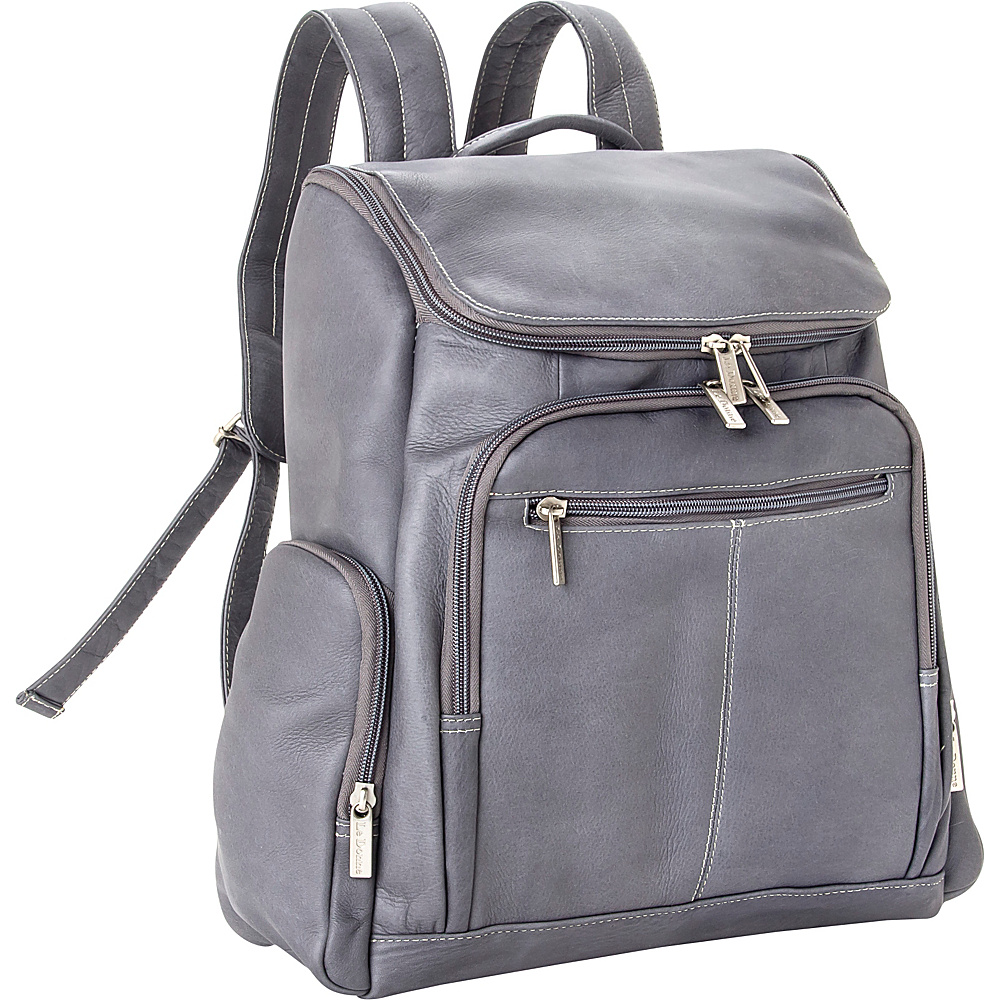 Le Donne Leather Computer Back Pack Gray - Le Donne Leather Laptop Backpacks