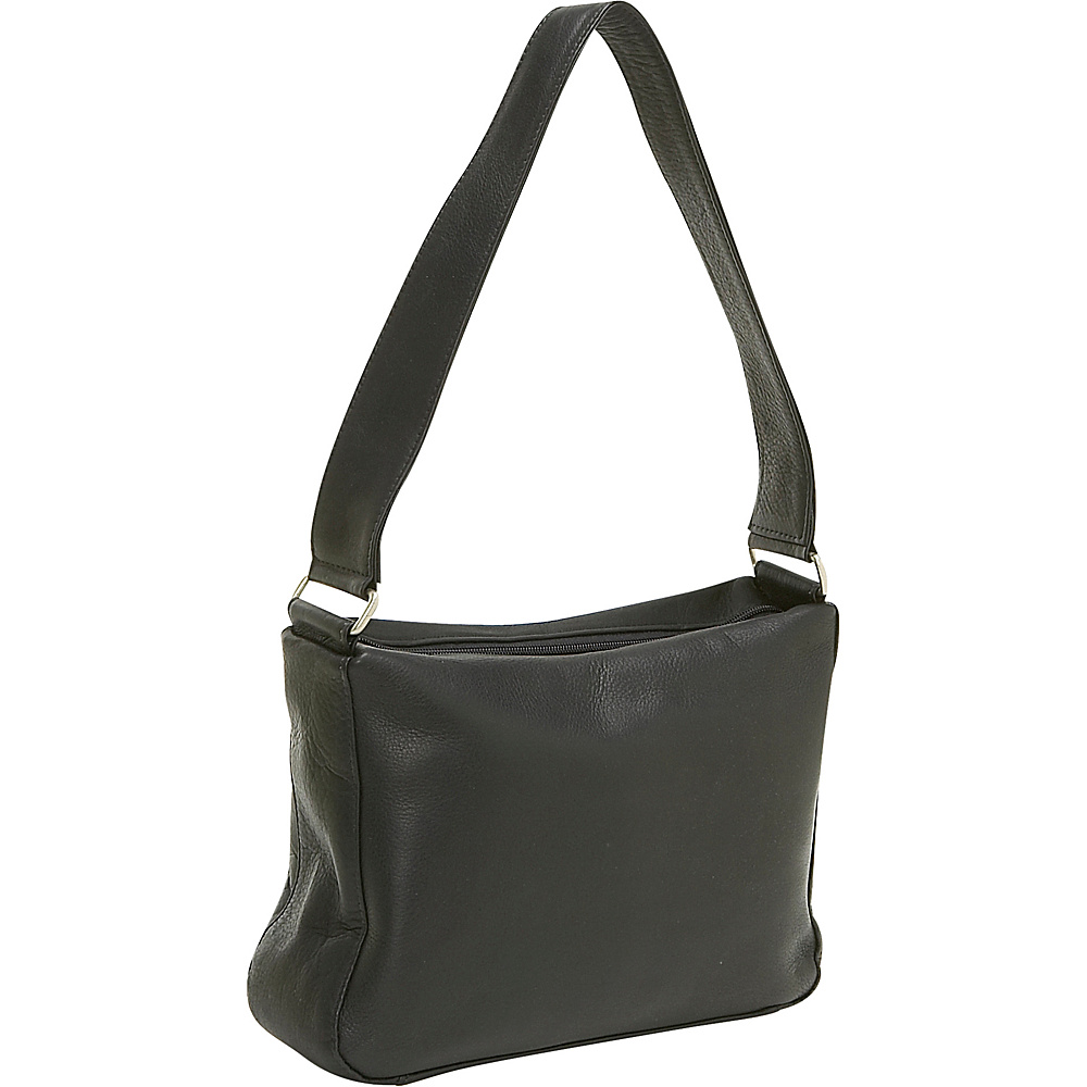 Le Donne Leather Top Zip Shoulder Bag - Black - Handbags, Leather Handbags