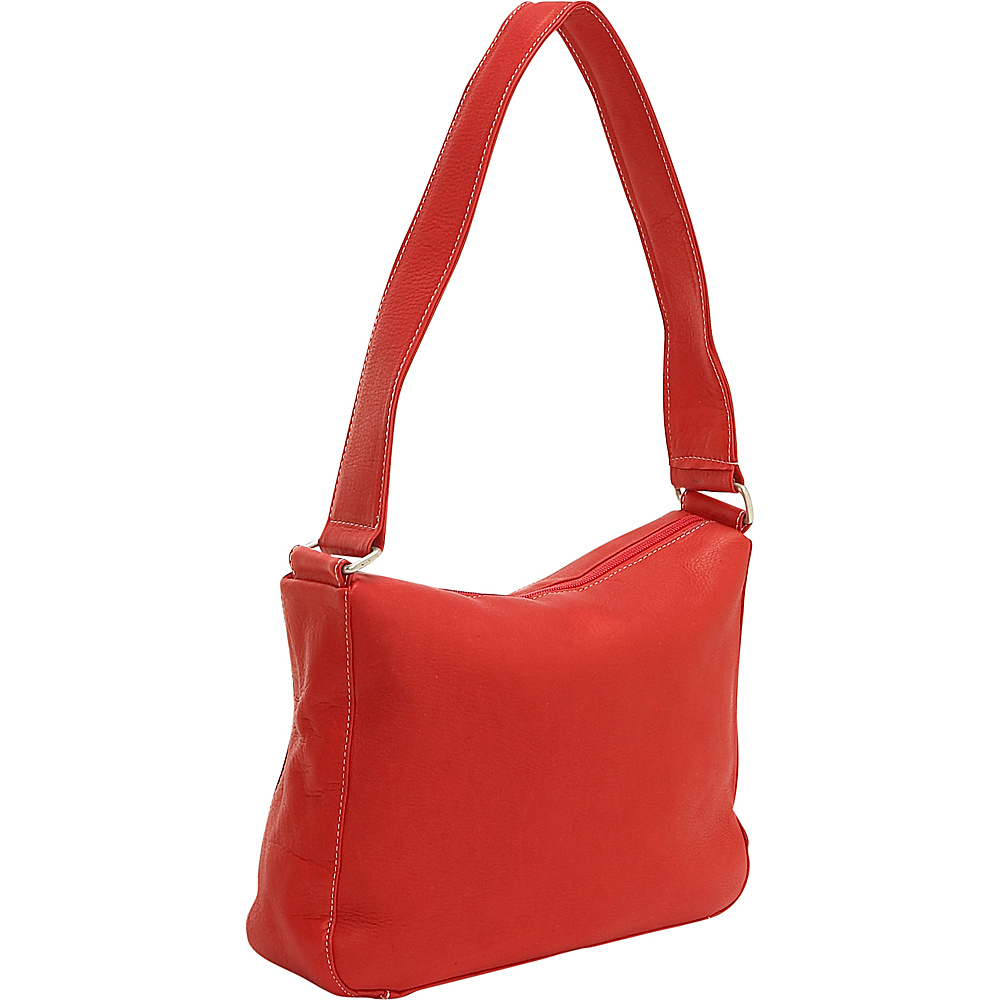 Le Donne Leather Top Zip Shoulder Bag - Red - Handbags, Leather Handbags