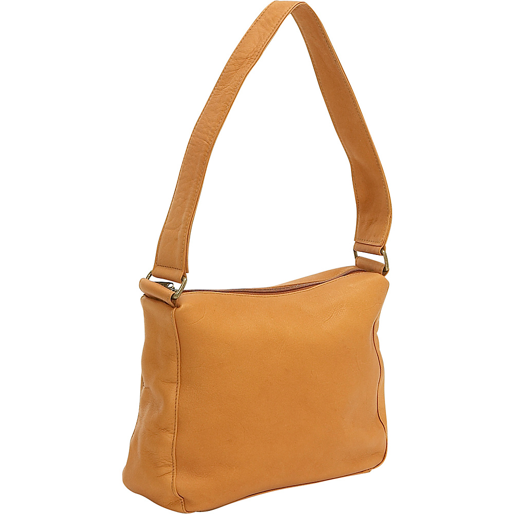 Le Donne Leather Top Zip Shoulder Bag - Tan - Handbags, Leather Handbags
