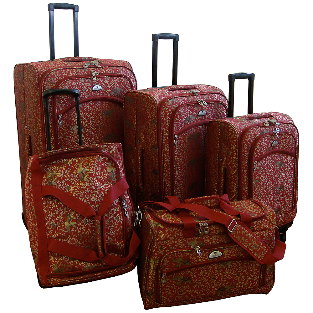 American Flyer Budapest 5 pc Spinners Luggage Set Red