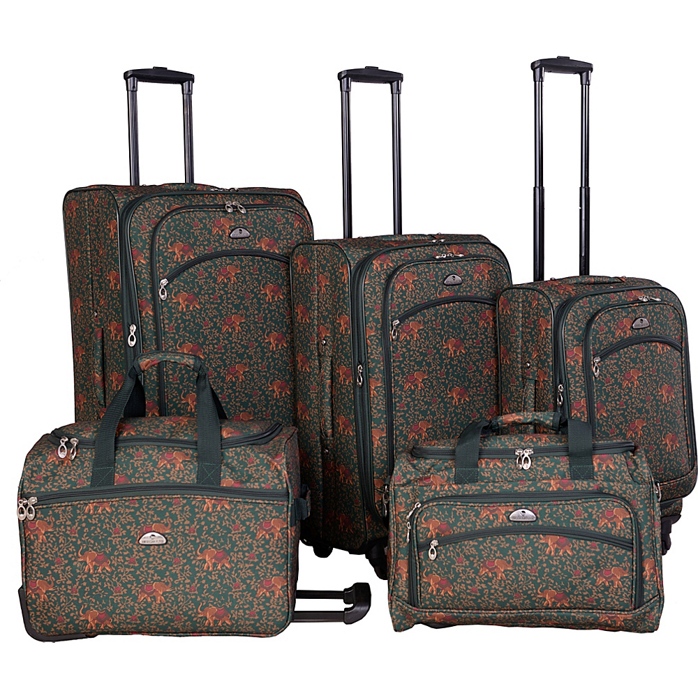American Flyer Budapest 5 pc Spinners Luggage Set Green American Flyer Luggage Sets