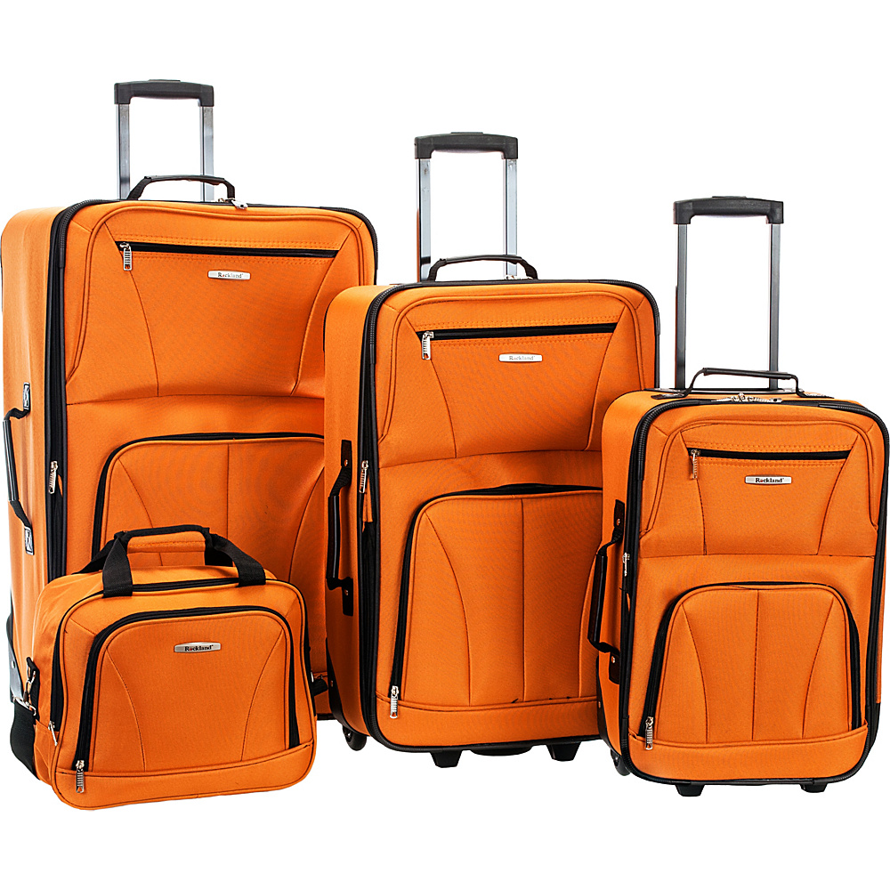 Rockland Luggage Deluxe 4 Piece Luggage Set Orange - Rockland Luggage Luggage Sets