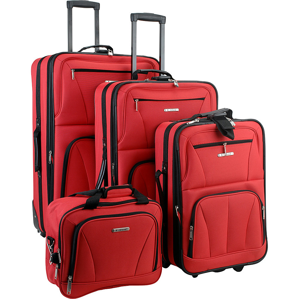 Rockland Luggage Deluxe 4 Piece Luggage Set Red - Rockland Luggage Luggage Sets
