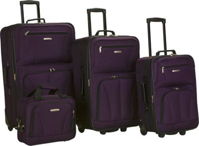 Rockland Luggage Deluxe 4 Piece Luggage Set Purple - Rockland Luggage Luggage Sets