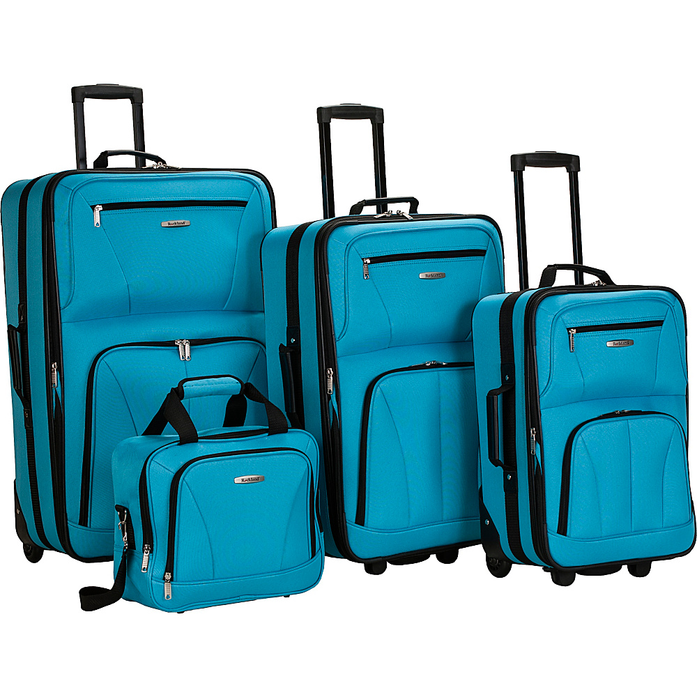 Rockland Luggage Deluxe 4 Piece Luggage Set Turquoise - Rockland Luggage Luggage Sets