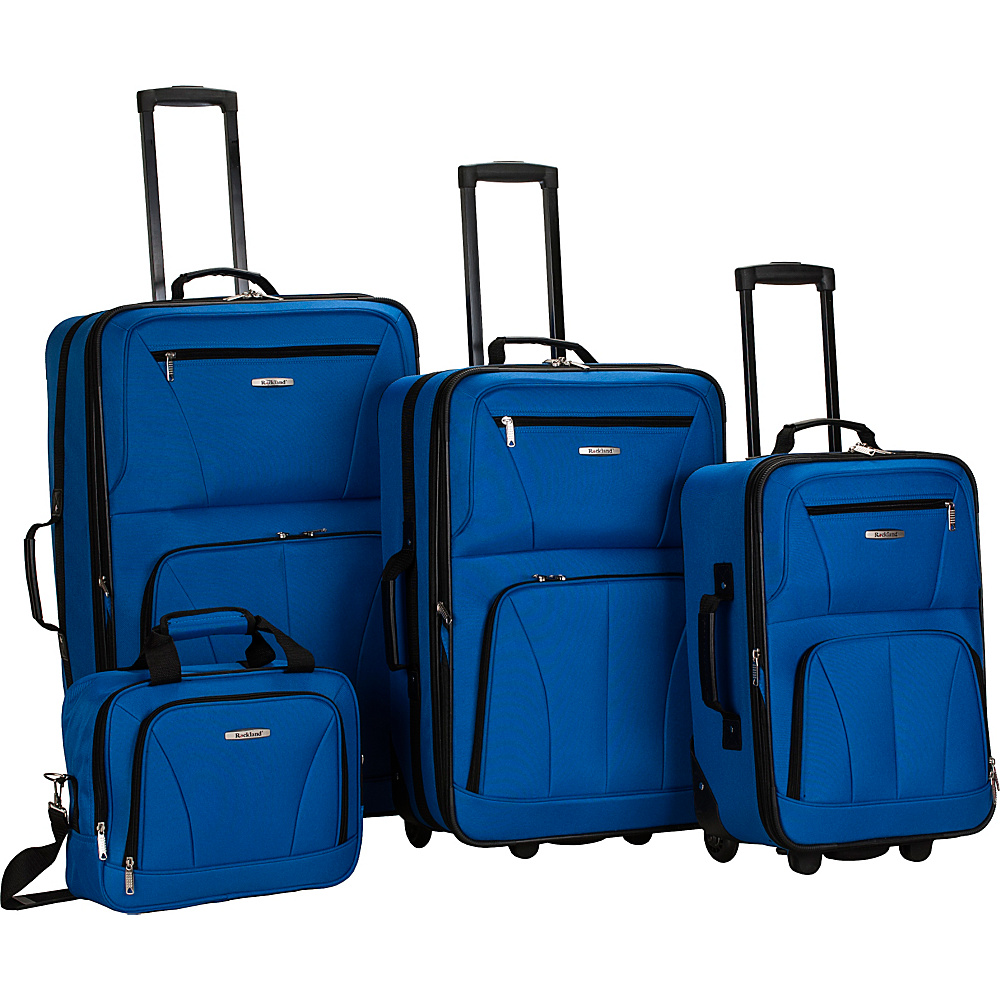 Rockland Luggage Deluxe 4 Piece Luggage Set Blue - Rockland Luggage Luggage Sets