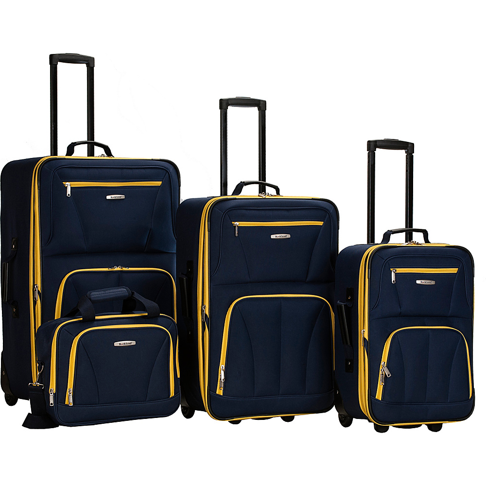 Rockland Luggage Deluxe 4 Piece Luggage Set Navy - Rockland Luggage Luggage Sets