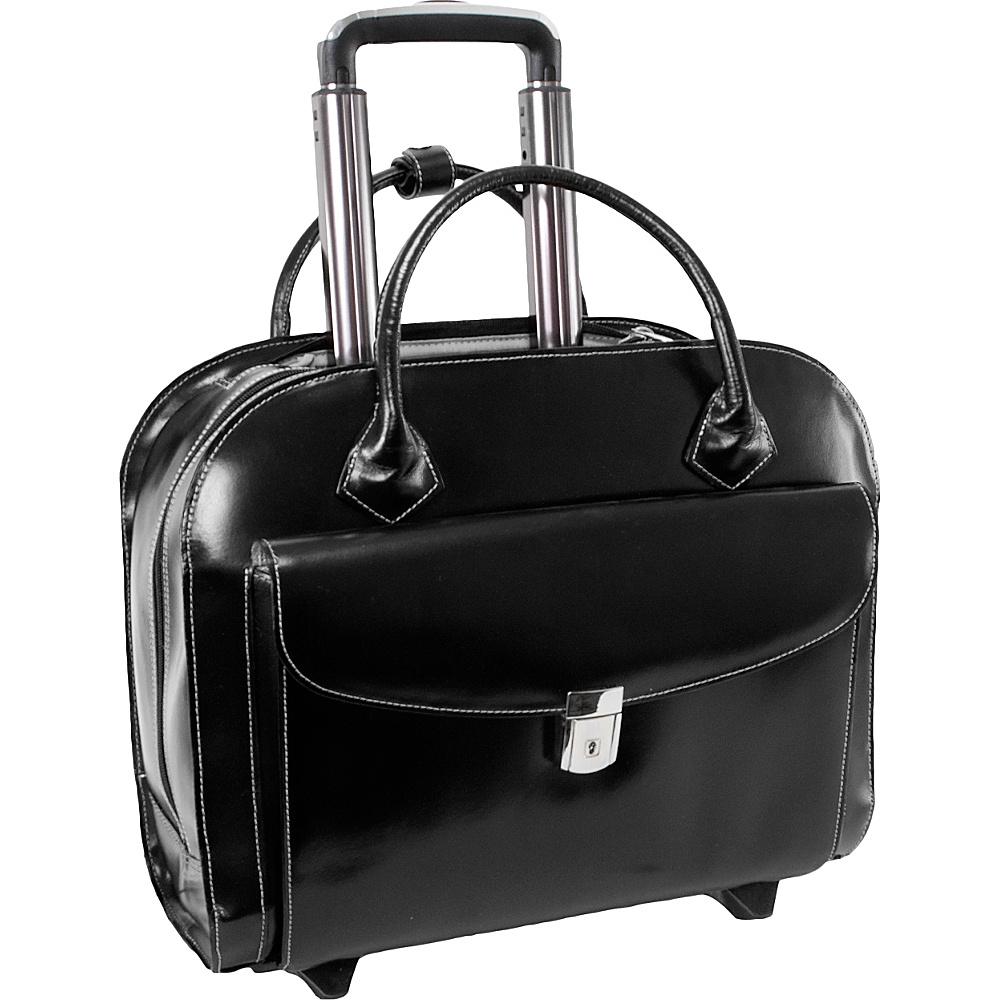 McKlein USA Granville Leather 15.4 Wheeled Ladies Laptop Case Black - McKlein USA Wheeled Business Cases - Work Bags & Briefcases, Wheeled Business Cases