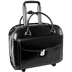 Granville Leather 15.4'' Wheeled Ladies' Laptop Case Black