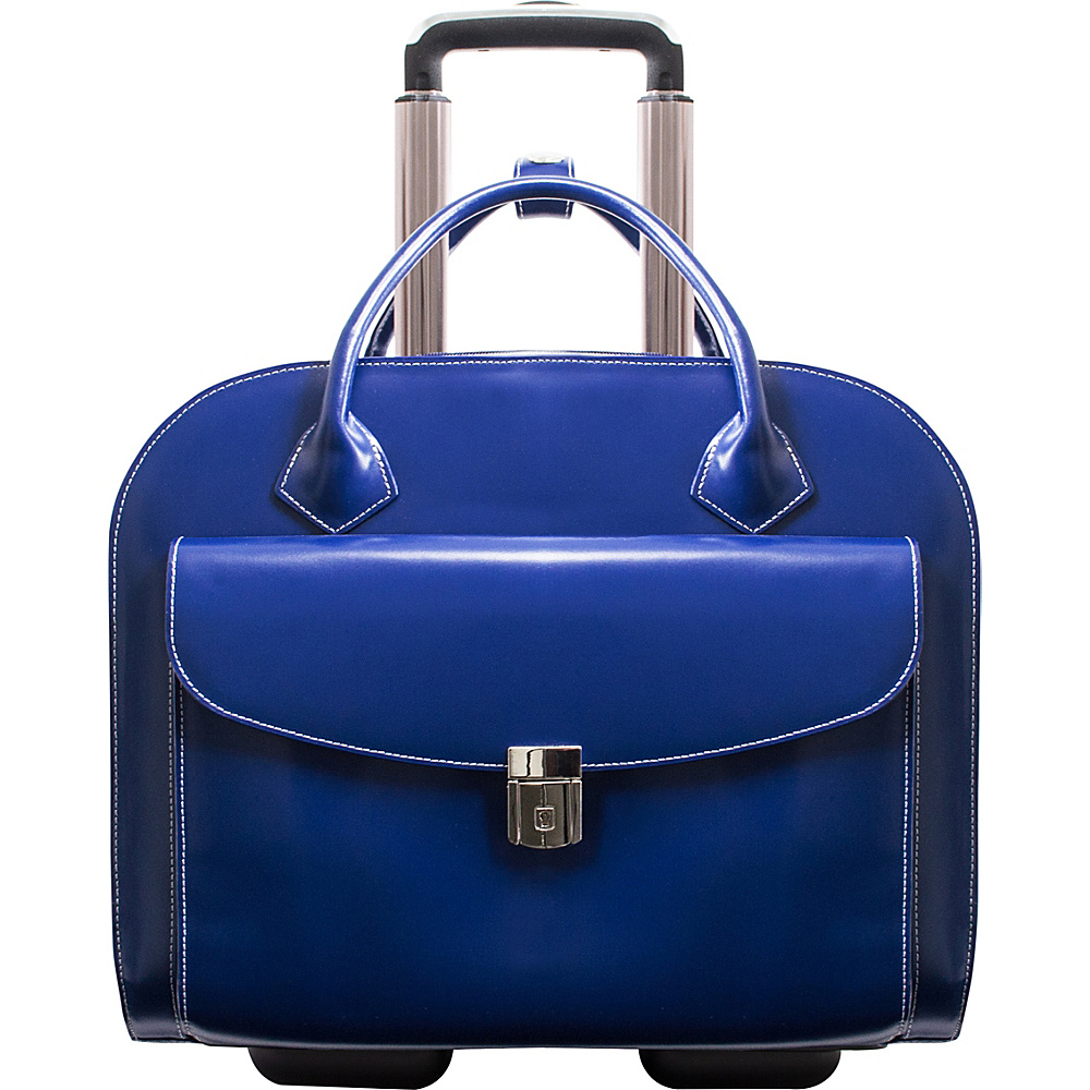 McKlein USA Granville Leather 15.4 Wheeled Ladies Laptop Case Navy McKlein USA Wheeled Business Cases