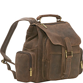 Distressed Leather Multi Pocket Back Pack Chocolate