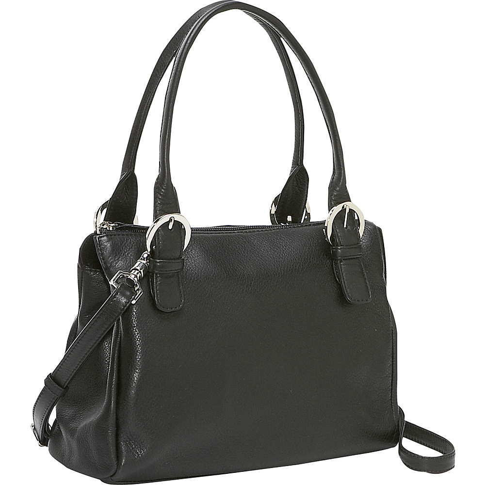 Derek Alexander Square Top Zip Handbag Black