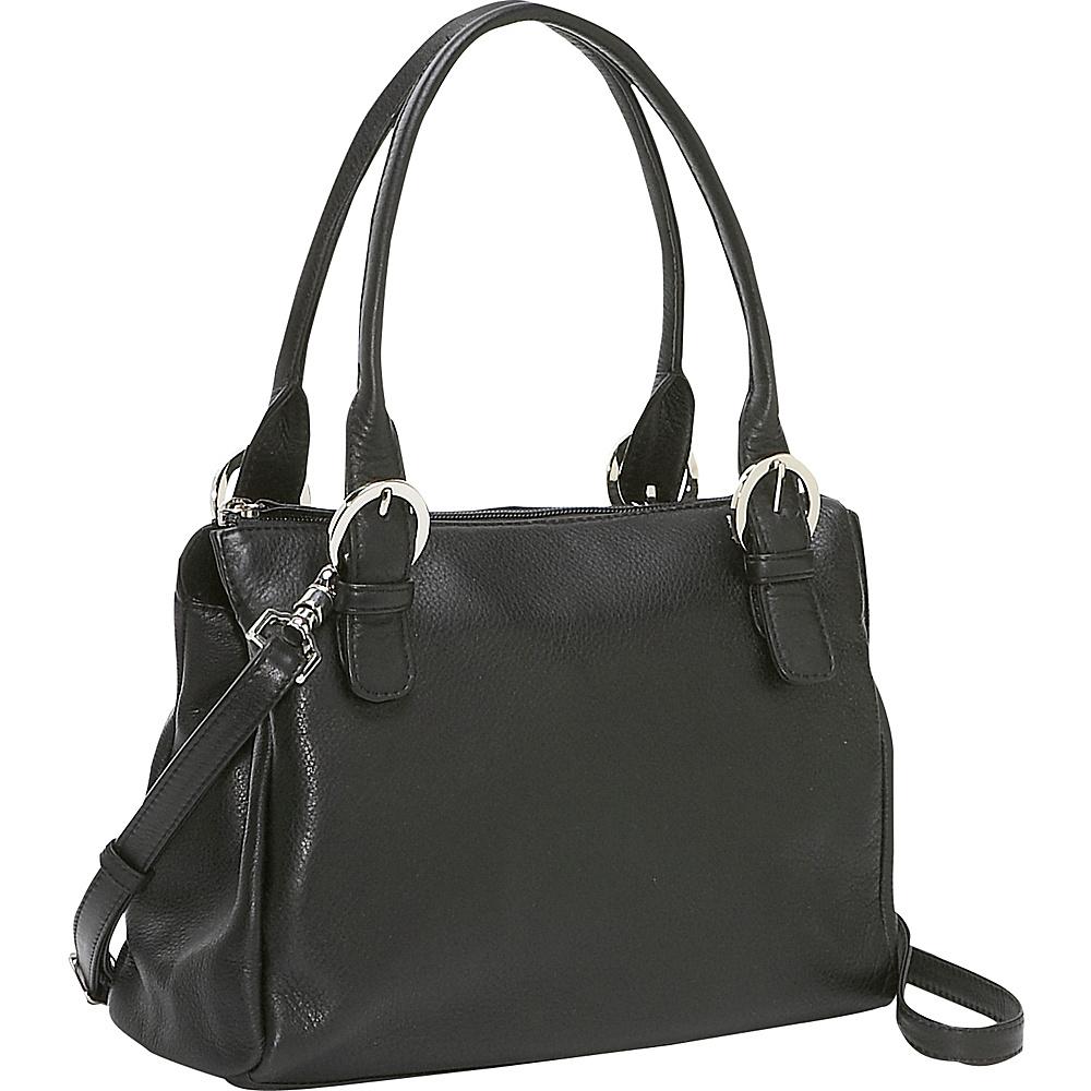 Derek Alexander Square Top Zip Handbag - Black - Handbags, Leather Handbags