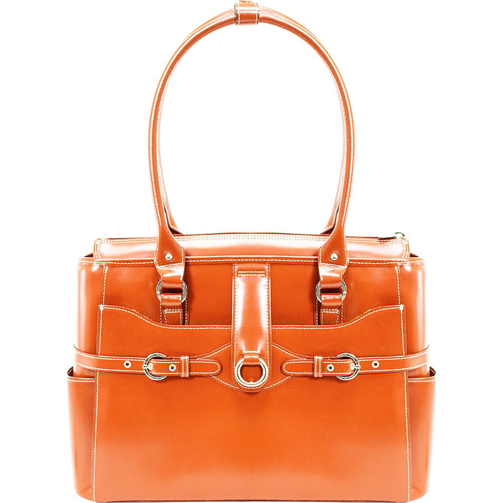 McKlein USA W Series Willow Springs 15.6 Leather Ladies Briefcase Orange - McKlein USA Womens Business Bags - Work Bags & Briefcases, Women's Business Bags