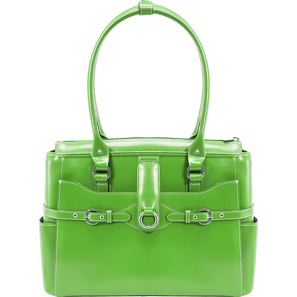 McKlein USA W Series Willow Springs 15.6 Leather Ladies Briefcase Green - McKlein USA Womens Business Bags - Work Bags & Briefcases, Women's Business Bags