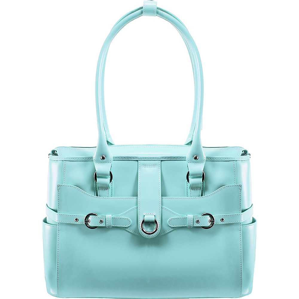 "McKlein USA W Series Willow Springs 15.6"" Leather Ladies' Briefcase Aqua Blue - McKlein USA Women's Business Bags"